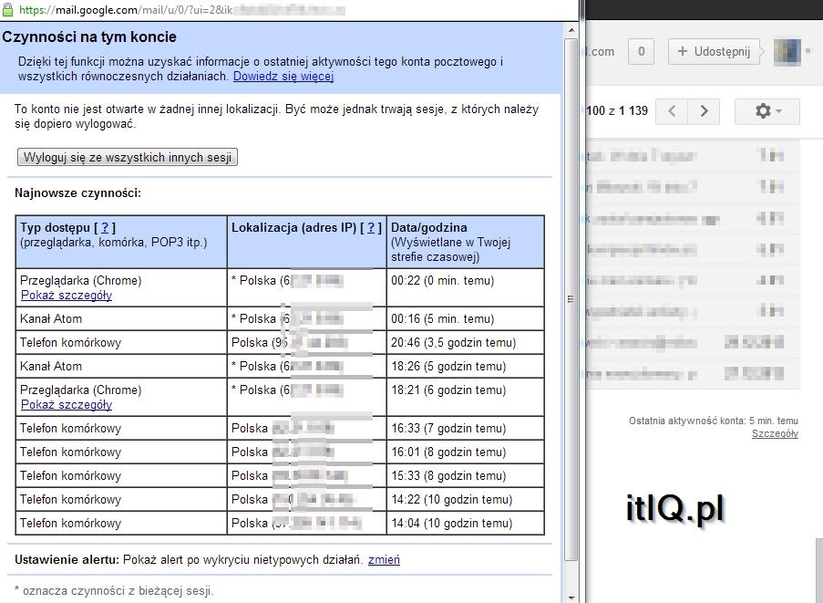 IP skradzionego sprzętu Gmail