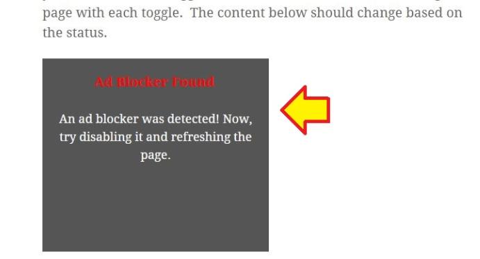Domyślny przykładowy komunikat aty adblockera